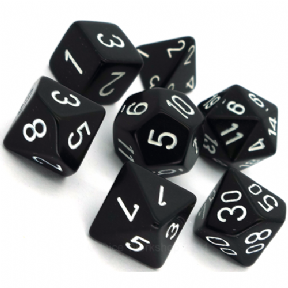 Black & White Opaque Polyhedral 7 Dice Set